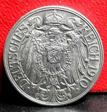 Beautiful Very High Grade 1910 J (Hamburg) German Empire 25 Pfennigs KM# 18