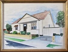 Architect's Watercolour of 1950's Suburban Bungalow, Framed, Signed