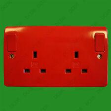 Mk Rojo 2 Gang conmutado 13A Red Eléctrica Reino Unido de 3 Pines Zócalo de enchufe de salida