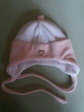 Mini MooMoo baby girl white/ pink velour hat with diamante heart size 2/ 0-3 m