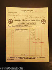 Luthe Hardware Co. Tinware and Metals Letterhead Invoice 1921