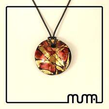 Collana donna vetro Murano gioiello in vetro tondo rosso foglia oro avventurina