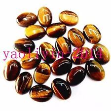 50Pcs Delicate Natural Brown Tiger Eye Gem Oval Cab Cabochon 20*15*6mm AS99