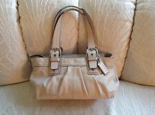 COACH Ivory SOHO Pleated Leather Buckle Satchel Tote Bag # 13732