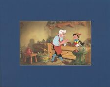 PINOCCHIO~GEPPETTO~CLEO & FIGARO~Mat Print~DISNEY'S WOODCARVER~NEW