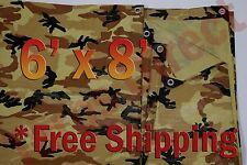 6' x 8' Camo Brown Beige Tarp Hunting Firewood Waterproof Camping Woodpile ATV