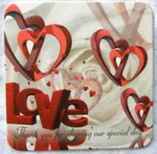 "100 Red heart Wedding Drink Coasters-favors, gift 4""x4"""