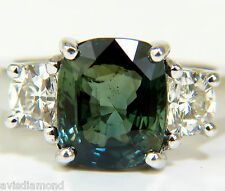 CERTIFIED 6.96CT NO HEAT NATURAL GREEN SAPPHIRE DIAMOND RING UNHEATED+