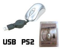 Retractable Mini Mouse for Laptops - Optical USB and PS2 - Right or Left Handed