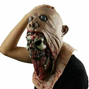 Scary Bleeding Roaring Zombie Mask Halloween Creepy Mask Costume Adult Bloody