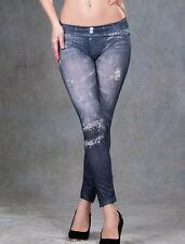 Women Denim Faded Torn look Print Sexy Skinny Leggings Jeggings Stretch Grey