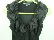 Sioni Funky Sweater Vest PM Black Knit Tiered Ruffle V neck  Fast Free