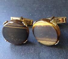 vintage TIGERS EYE stone modernist 1970s mens gold tone cufflinks -Q109