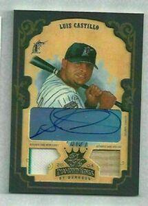 2004 Diamond Kings Luis Castillo GU Jersey/Bat/Autograph Auto #4/5 Marlins #130
