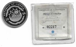 2006 Republic of Liberia $20 History of America .999 Fine Silver 20g