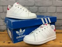 ADIDAS GIRLS UK 12 EU 30.5 STAN SMITH WHITE PINK LEATHER TRAINERS TRAINERS LG