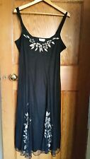Wallis 1920s style Black Dress with Beaded & Applique detailing - Size 14