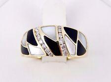 14K John Bagley Bagley & Hotchkiss Diamond Onyx Mother of Pearl Ring 9.5 Grams