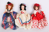 "Vintage dolls in fancy dresses lot of 3: 8"", Scottish, British, Valentine's Day?"
