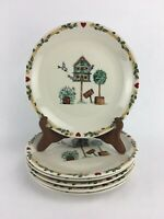 Lot of 6 Thomson Pottery BIRDHOUSE Pattern Dinner Plates 10-1/4 inches