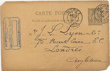 FRANCE TRADE POST CARD 28/10/1891; MOREZ - LONDON