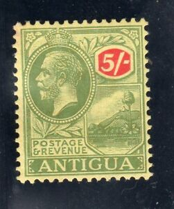 Antigua GV SG; 60, 5/- green & red. mounted mint.