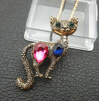 Betsey Johnson Pink Blue Crystal Cute Cat Pendant Sweater Necklace/Brooch
