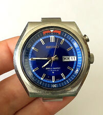 Vintage Seiko Bell Matic 4006 6060T Mens Watch Runs No Band Blue Dial Day Date