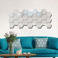 Creative 12Pcs/set 3D Hexagon Mirror Sticker Wall Art Stickers DIY Home Decals
