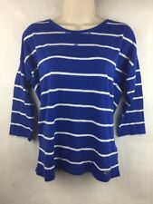Hollister Women's Lightweight Blue & White Striped 3/4 Sleeve Top Size Small
