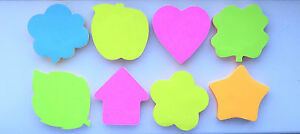 Fun Shapes Sticky Notes Large Memo Pad HEART APPLE LEAF HOUSE BUBBLE CLOUD ARROW
