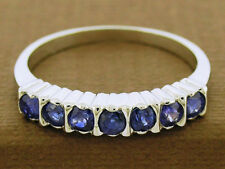 s R136 Solid 9K White Gold Natural Sapphire Eternity Ring Stackable Wedding sz7