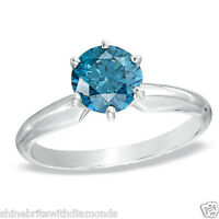 2 Ct Round Blue Solid 14K White Gold Solitaire Engagement Wedding Promise Ring