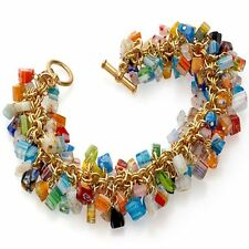 "Mosaic Millefiori Glass Beads Toggle Bracelet, 7.5"" Museum Store Collection"