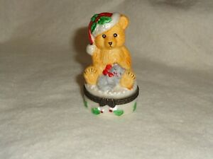 Trinket Box Christmas Bear On Hinged Lid