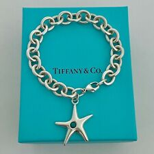"Tiffany & Co. Sterling Silver Turquoise Starfish Charm Bracelet 7"" With Pouch!"