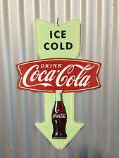 COKE ARROW COCA COLA FISHTAIL EXTRA LARGE TIN METAL SIGN PERFECT FOR BAR FANTA