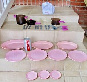 2003 MATTEL BARBIE CHILD SIZE CHEF SET - HAT+ POT+ DISHES+SILVER - 27 ITEMS NICE
