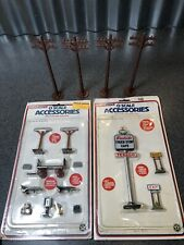 Life Like O Scale Train Accessories Telephone Poles Pay Phone Gas Station Signs