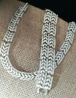 Vintage Coro Signed White Enamel Silver Tone Necklace & Bracelet Set