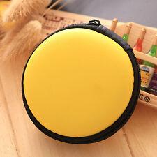 1PCS Yellow Round Storage Bag Box For Earphone Earbud Headphone