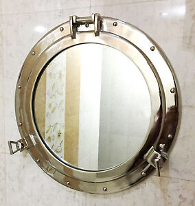 "Nautical Ship 20"" Porthole Mirror Wall Decor Silver Nickel Finish Nautical Decor"