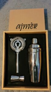 NEW Ajmer 3 Piece Mixology Set with Jigger, Shaker, and Strainer