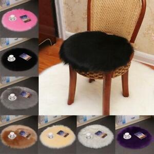 35x35cm Plush Faux Fur Wool Seat Pad Chair Seat Cushion Cover Winter Office Home
