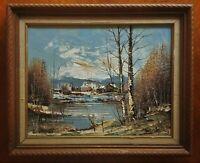 "VINTAGE Mid Century Impasto Painting Signed ""BERNARD"" Aspen TREES, CABIN & LAKE"