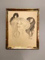 """Original Zeichnung Manfred Botek -  """"14 Gustav Klimt""""Kunstfälscher Beltracchi"""
