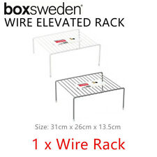 Metal Wire Elevated Storage Rack Shelf Bin Tray Tier Shelve Organiser Kitchen