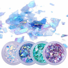 4 Boxes Nail Paillette Glitter Sequins Flakies Fluorescent Glass Paper Decor DIY