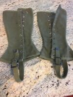 WWII U S Army Military Leggings Gaiters Spats M 1938 OD Canvas Dismounted 1R '44