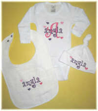 Personalized Baby Girl HEARTS HAT BIB & CREEPER Romper T-Shirt Outfit GIFT SET